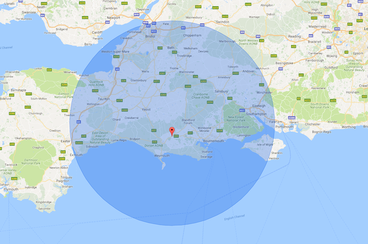 Map of Dorset and surrounding areas,